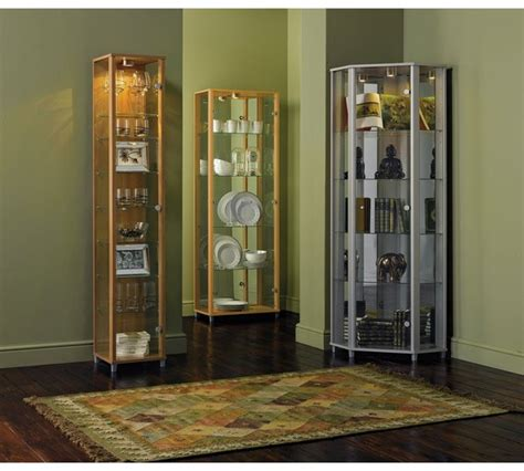 Glass Corner Cabinets Dining Room Buy Home Corner Glass Display Cabinet Silver Effect At