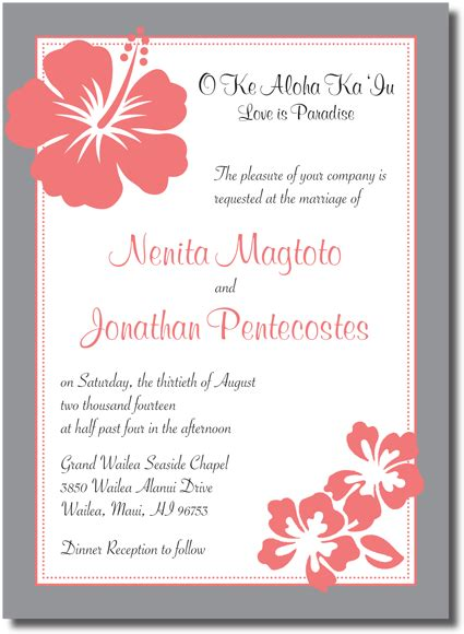 Hawaiian Theme Wedding Invitation To Email wedding invitations in hawaii beautiful wedding