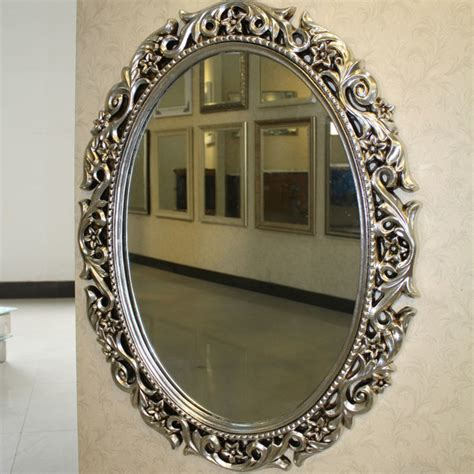Bathroom Mirror Oval Pu Oval Bathroom Mirrors With Carved Flowers Traditional Bathroom Mirrors Other Metro By