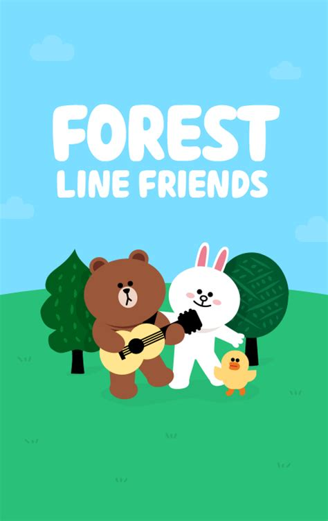 theme line forest friend line friends 点力图库