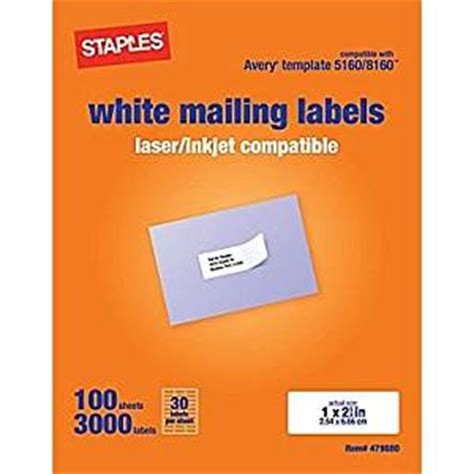 staples white mailing labels for laser printers 1 x 2 62