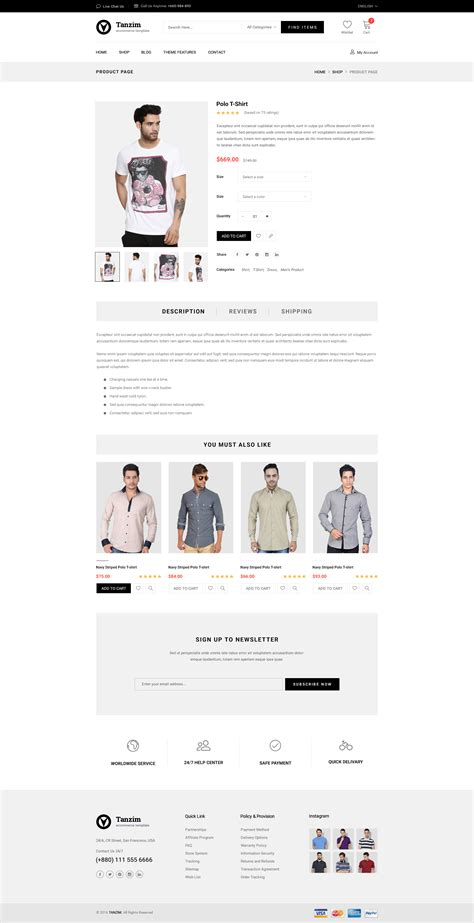 Tanzim Ecommerce Psd Template By Nilartstudio Themeforest Single Product Ecommerce Website Template