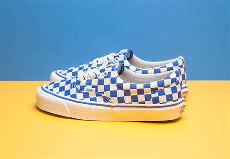 blue pattern vans vans era in two new quot checkerboard quot colorways