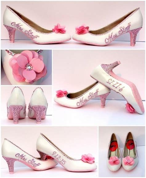 light pink bridal shoes s name wedding date