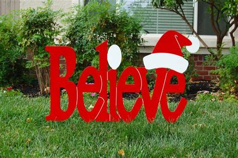 believe in santa red outdoor christmas holiday wood lawn