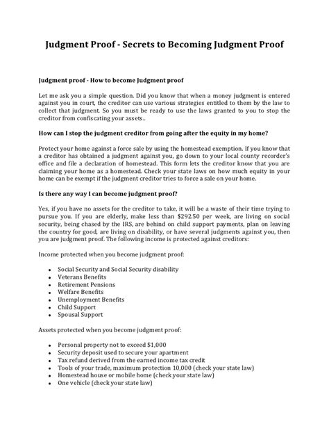 Judgement Proof Letter Template Judgment Proof Secrets To Becoming Judgment Proof