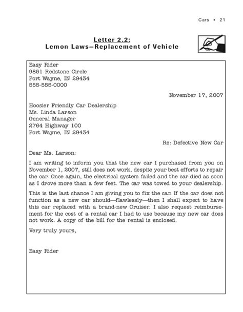 Complaint Letter Vehicle 101 complaint letters that get results