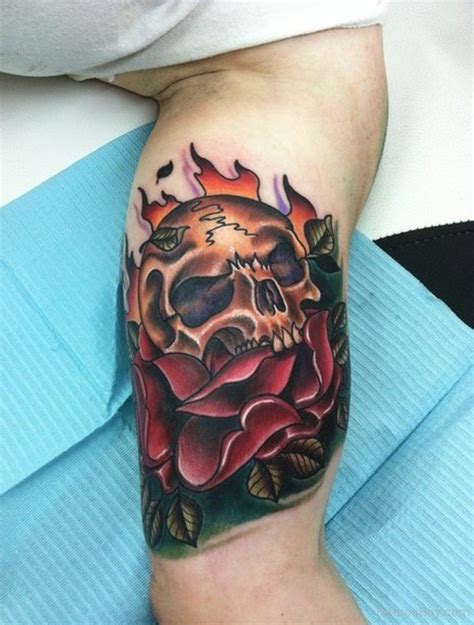 tattoos on bicep skull tattoos designs pictures