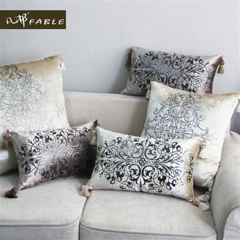 decorative pillows for sofas quality luxury fashion velvet printing sofa cushion gold