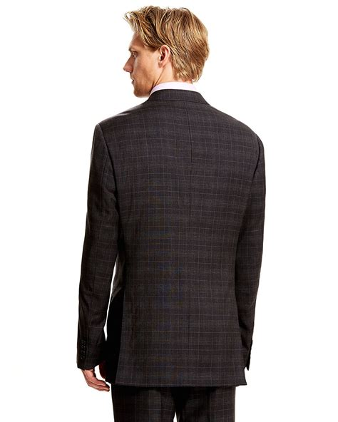 pattern grey suit armani grey check pattern suit in gray for men lyst