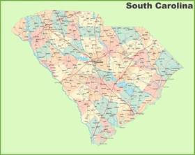 map of carolina with cities and towns road map of south carolina with cities