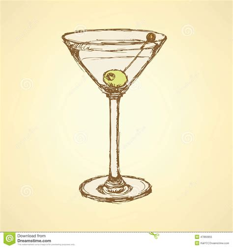 vintage cocktail vector image gallery martini sketch