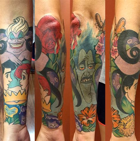 disney sleeve tattoo huertas artist disney tattoos flower