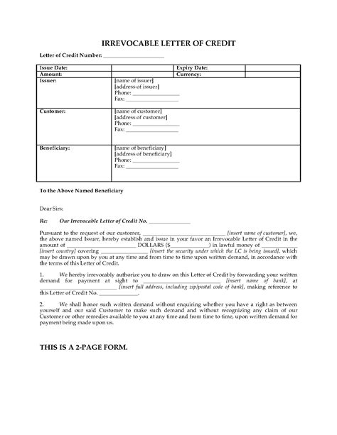 irrevocable letter of credit template irrevocable letter of credit forms and business