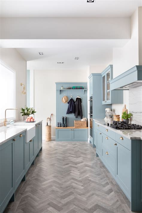 light teal skinny shaker kitchen farmhouse kitchen