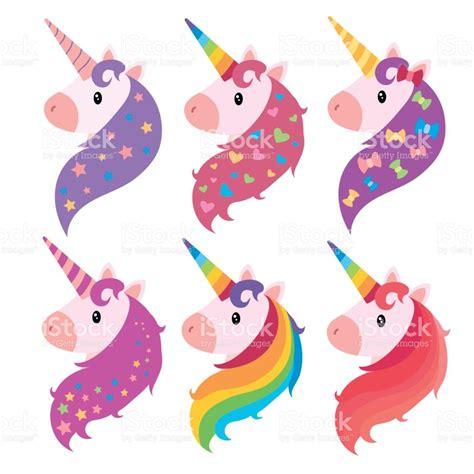 imagenes de unicornios a color un conjunto de retratos de unicornios en estilo de dibujos