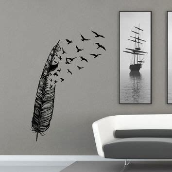 birds of feather wall decals vinyl decal housewares art feather flying bird wall decal vinyl from fabwalldecals on