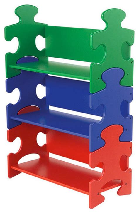 kidkraft puzzle book shelf primary eclectic room