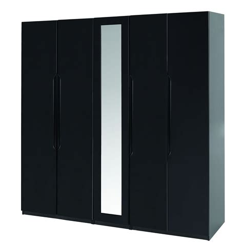 Black Wardrobe by Orient 5 Door Wardrobe With Mirror Black Gloss