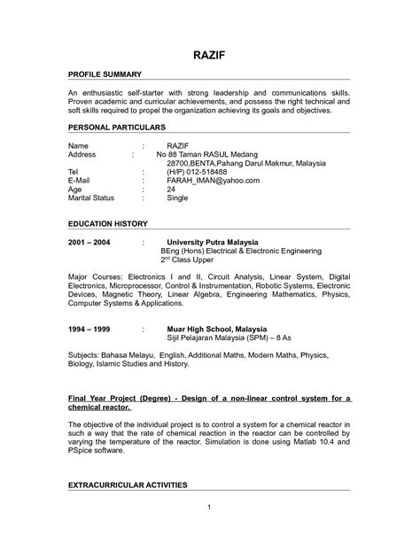 Resumes Pdf Or Word by One Page Resume Format For Freshers Engineers Pdf Great
