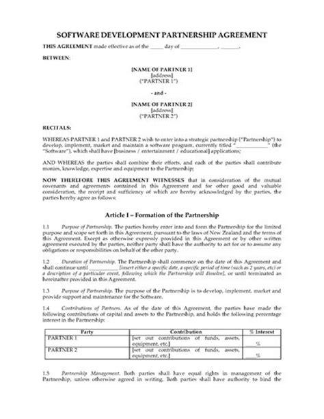 partnership agreement template nz new zealand software development partnership agreement