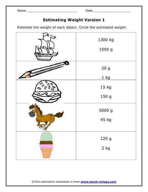 Measuring Mass Worksheet by Estimating Weight Version 1