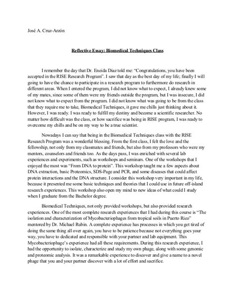 reflective writing sle essay how to write a reflection essay