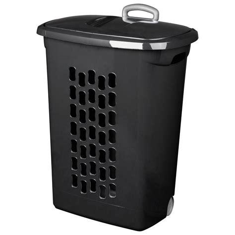Sterilite Black Plastic Wheeled Laundry Basket 12229003 Wheeled Laundry