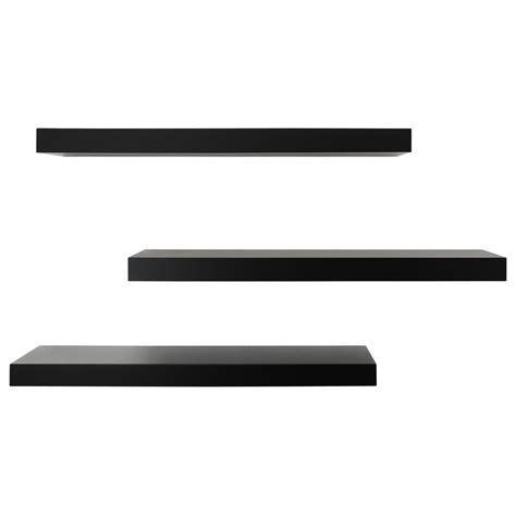 Kiera Grace Maine 24 In W X 5 In D Black Floating Wall Floating Shelves Black