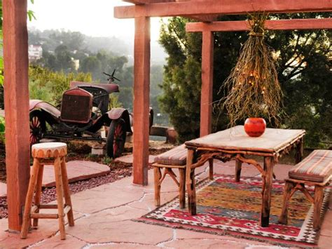 southwestern outdoor dining room  colorful patterned