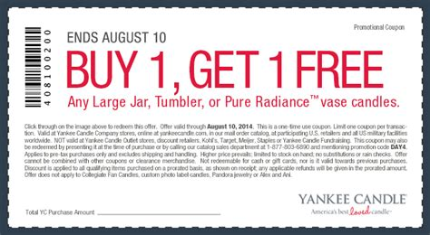 new yankee candle printable coupons yankee candle bogo free large jar tumbler or pure