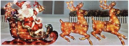 Outdoor lighted holographic santa and reindeer christmas sleigh yard