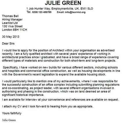 architect cover letter sample livecareer throughout architecture