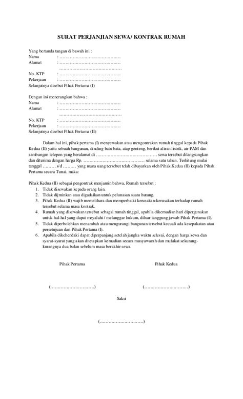 contoh surat perjanjian sewa rumah 2016 car release date