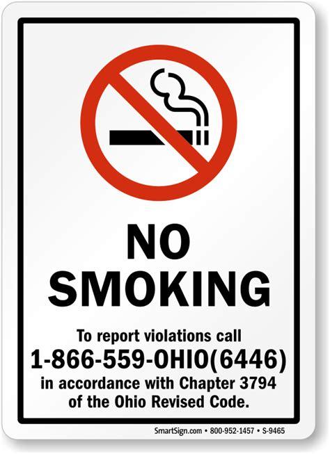 No Smoking Sign Called | ohio no smoking signs sku s 9465