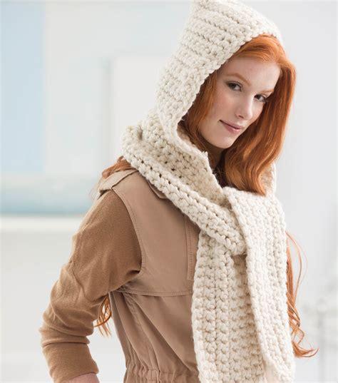 cozy crochet hooded scarf joann jo