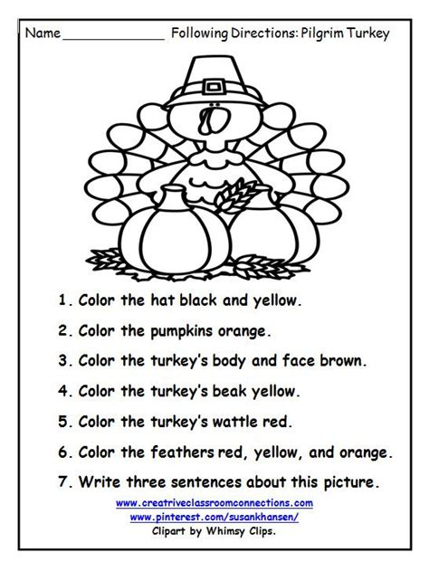 printable following directions worksheet this free turkey worksheet provides fun for students to