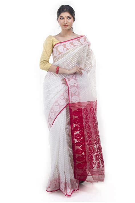 Home Decor Showpieces exclusive white red dhakai jamdani saree from bangladesh