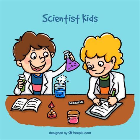 imagenes comicas para un grupo cartoon scientist kids vector premium download