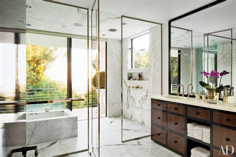architectural digest 22 baths swathed in graphic marble photos architectural