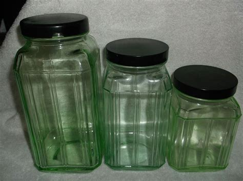 glass kitchen storage canisters 3 heavy green depression glass kitchen canisters
