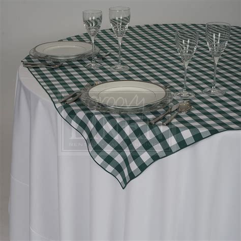 Green Forest Table Cloth 110160 forest green checkered overlay tablecloth groovy linen trendy ottawa linen rentals