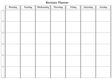 printable revision planner time table templates calendar template 2016