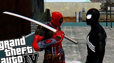 mod gta 5 deadpool deadpool vs black spiderman gta iv supehero mod epic