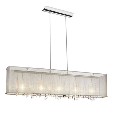 Rectangle Light Fixture Bohemian 5 Light 44 Quot Linear Pendant Chandelier With Oyster Rectangular Silk Shade