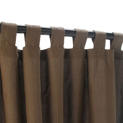 brown tab top curtains coffee weathersmart outdoor curtain with tabs hatteras
