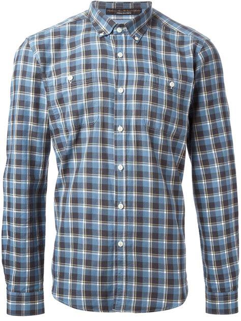 pattern blue shirt lyst barbour plaid pattern shirt in blue for men