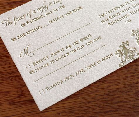 clever wedding response card wording a way with words rsvp letterpress wedding invitation