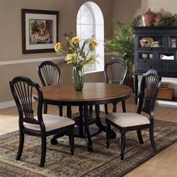 Circle Dining Table Set Hillsdale Wilshire 7 Dining Table Set In Pine And Black 4509dtbrndc7