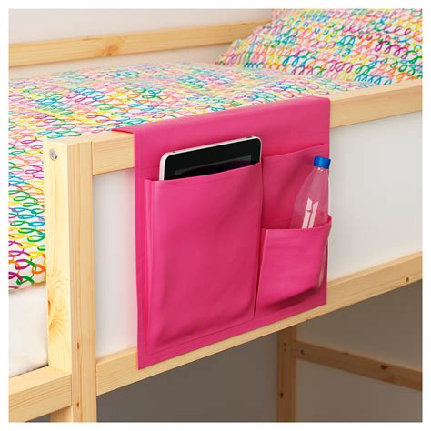 kids storage stickat bed pocket pink 39x30 cm ikea
